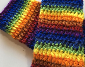 Fingerless gloves, Texting gloves, women's small, Rainbow striped