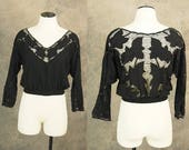 vintage 80s Bali Cutwork Shirt - 1980s Black Cutwork Blouse Boho Embroidered Blouse Sz S M