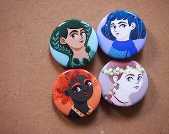 Pins set, 4 illustrated button brooches with portraits of four seasons