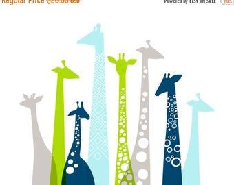 "SUMMER SALE 14X11"" Giraffe silhouettes landscape giclee print on fine art paper. Sky blue, bright apple green, navy, gray."