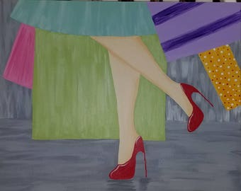 Out Shopping Acrylic Canvas Painting