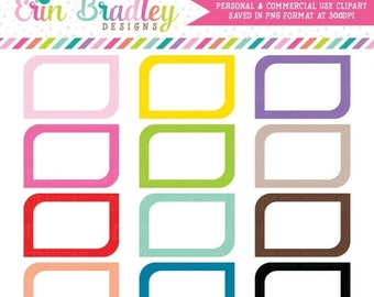 80% OFF SALE Rounded Corners Clipart Graphics, Commercial Use Label or Shape Clip Art Set