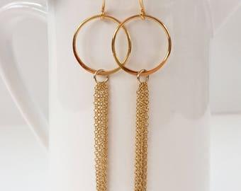 Hoop and Tassel Earrings in Gold