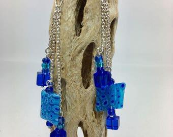 Cobalt Blue Flower Earrings, Millefiori Glass, Statement Earrings, Long Dangle Earrings, Blue Cube Bead, Sterling Silver Filled Chain