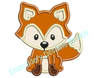 Fox Applique Machine Embroidery Designs 2 Sizes Included 4x4 and 5x7 Instant Download Sale