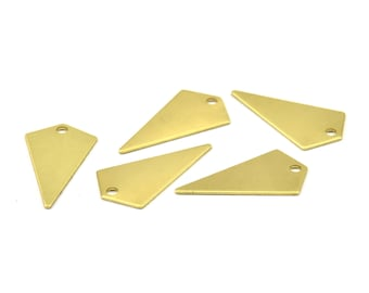 Tiny Necklace Triangle, 24 Raw Brass Triangle Charms with 2 holes (22x12x0.60mm) D346