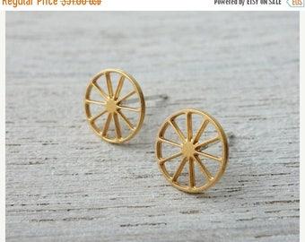On Sale 40% off, Wheels Post Earrings, Scandinavian design, minimalist studs