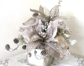 Taupe, Silver and Light Gold Poinsettia and Pine Christmas Holiday Floral Arrangement