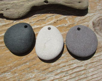 Natural Stone Pendants Beach Stone Pendants Top Drilled Lake Stones 3mm
