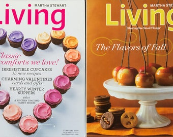 Martha Stewart Living Magazines October 2007 The Flavors of Fall and February 2009 Classic Comforts we Love, both in excellent condition