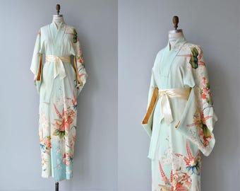 Minazuki silk kimono | vintage 1950s kimono | japanese silk floral kimono