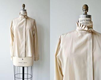 Bisque blouse | ruffle collar blouse | silky cream blouse