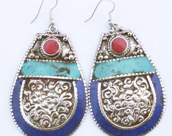 Lapis, Turquoise and Carnelian Enameled Hand-Hammered Silver Earrings