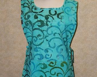 Apron Sea Glass Swirls tunic cobbler batik cotton print 2 section pocket side ties undulating kelp turquoise aqua seaglass green smock style