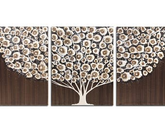 Wall Art Large Canvas Tree Painting Acrylic - Neutral Brown Decor - Extra Large 62x24