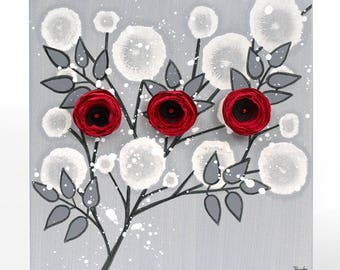 Red Rose Canvas Art Original Painting of Flowers in Red Black and Gray, Gift for Girlfriend - Small 10x10