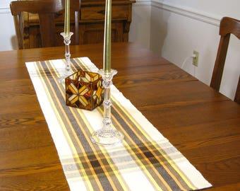 "48"" Fall Plaid Table Runner Handwoven Table Runner Thanksgiving Buffet Scarf 48"" Table Runner Autumn Table Runner Hand Woven Table Runner"