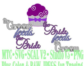 Wedding Cake Bride Groom Feeds wiith Cupcake Cut Files MTC SVG SCAL Format and more traceable