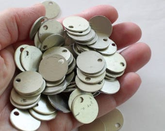 """Pale Gold Stamping Blanks, 20+ 11/16"""" Blanks Anodized Aluminum Discs, 19 Gauge, German Silver Color Tone, Light Gold Metal Blanks"""