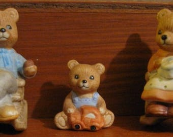 Homco  Bear Family Figurines - Set of 3 - Mother, Father, Baby