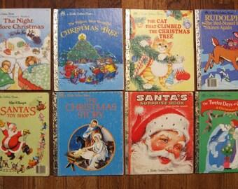 Eight Vintage Christmas Little Golden Books - Santa's Toy Shop, Rudolph, Christmas Story, etc.