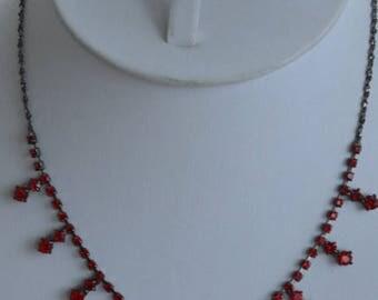 "On sale Pretty Vintage Red Rhinestone, Darkened Silver tone Necklace, Adjustable, ""Claire's"" (B17)"