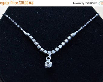 "On sale Delicate Rhinestone Necklace, Silver tone, Vintage, 18"", Korea"