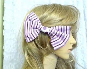 Handmade Hair Bow, Cotton Hair Bow, Purple Stripe Bow, Hair Accessory, Large Bow, Polka Dots, Hair Bow, Purple Hair Bow,  Unique Hair Bow