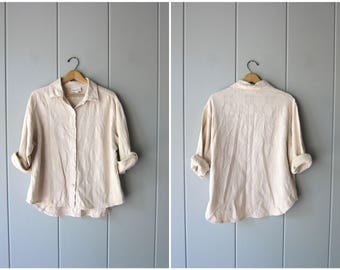 Vintage 90s Cotton Textured Shirt Button Up Oversized Shirt Buff Beige Natural Cotton Slouchy Casual Blouse Long Sleeve Shirt Womens Large