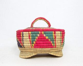 Coiled Basket Bowl Decorative Natural Woven Pink Green Coil weave Basket w Lid Ethnic Modern Earthy Home Decor Bohemian Chic Basket
