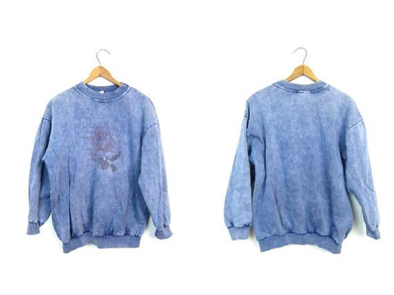 80s GUESS Sweatshirt Blue Purple Pigment Dyed Sweater Vintage Grunge Novelty Rose Print Urban Boho Hipster Pullover Womens Large Medium