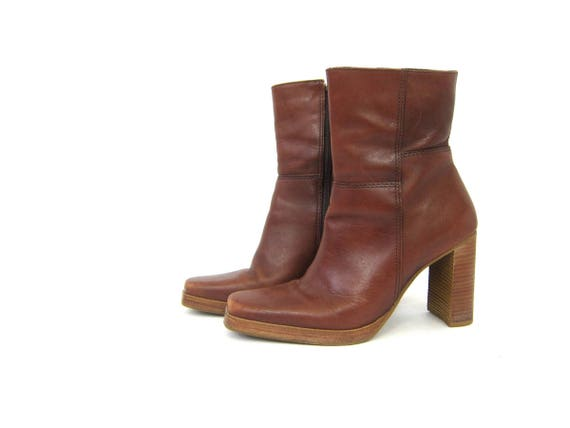 Brown Leather Boots Ankle Booties Tall 90s Grunge Chelsea Boots High Heel Zipper Mid Calf Boots Vintage Women's size 7