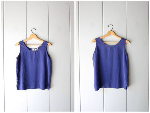 90s Silk Tank Top Blue Silk Blouse Minimal Crop Top Modern Silk Tank Simple Basic Casual Silk Top Vintage Womens Small Medium