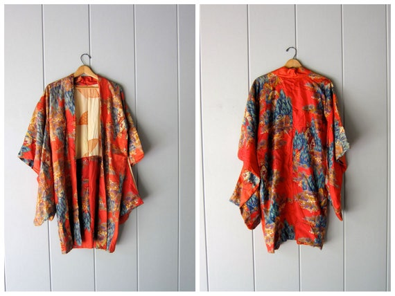 Authentic Silk Kimono Vintage 1970s Japanese Haori Jacket Orange Floral Print Fabric Hip Cool Casual Formal Evening Jacket Japan Womens S M