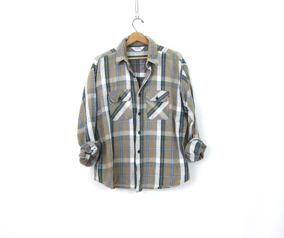 Oversized Flannel Shirt Tan Plaid Flannel Button Up Slouchy Rugged Hunting Shirt Worn in Work Shirt Mens Size XL