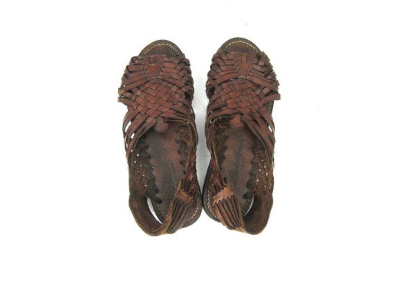 Vintage Mens Huaraches Brown Woven Leather Sandals Leather Slip Ons Ethnic Boho Beach Sandals Summer Shoes 80s 90s Huaraches Mens size 9