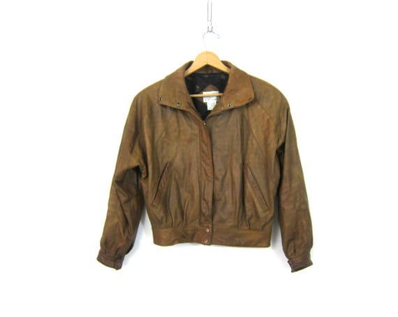 Vintage Brown Leather Bomber Coat Moto Jacket Women's Cropped Leather Coat Vintage 90s Flight Jacket Womens size Small