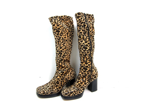 90s Animal Print Tall Boots Retro Chunky Zip Up Fashion Boots Vintage Faux Fur Cheetah Rockabilly Punk Rock Vegan Shoes Hipster Womens 8.5 9