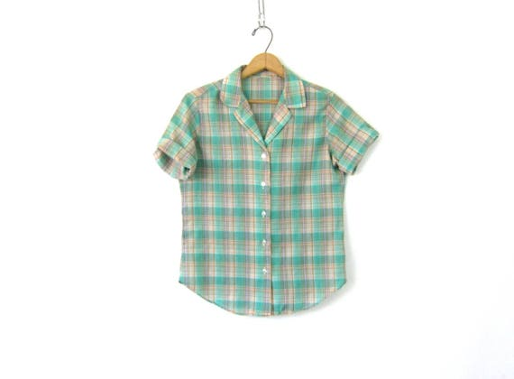 80s Green plaid Top THIN Fabric Shirt Button Up Blouse Casual Collared Top Short Sleeve Hipster Tee Vintage Womens Small Medium
