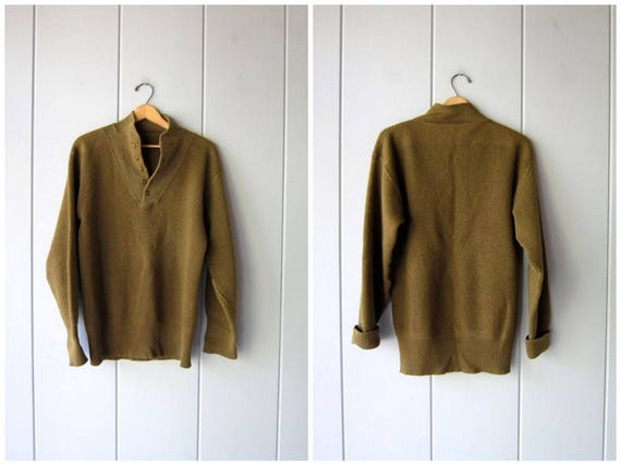 Olive Green Sweater 80s Mens Henley Sweater Wool Mix Military Pullover Grunge Open V Button Up Boyfriend Sweater Vintage Mens Medium Large