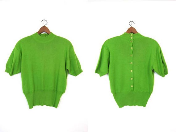 Vintage 90s Knit Sweater Top Lime Green Short Sleeve Sweater Minimal Knit Tee Preppy Modern Knit Tee with Buttons in Back Womens Large