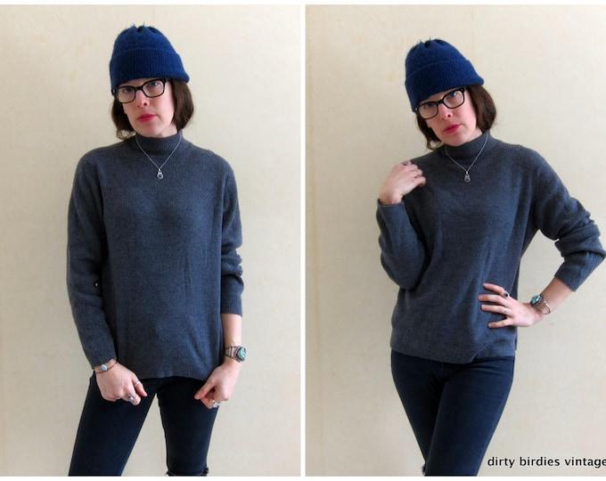 Grey Wool Rib Sweater / Large