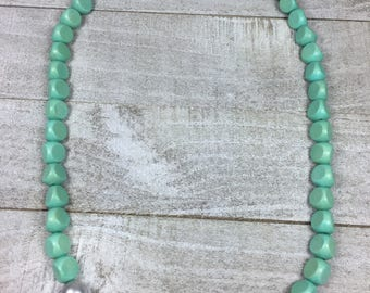 Mint And Silver Necklace - Aqua Mint Green Statement Beaded - Single Strand Necklace