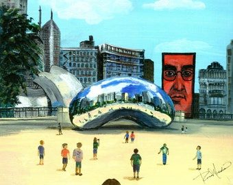 Chicago's Millenium Park, The Bean, or Cloud Gate.  An art print from an original acrylic painting, By Artist, Roseann Madia