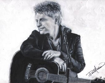 Jon Bon Jovi, and his Takamine Guitar. A print from the original painting, by Artist, Roseann Madia