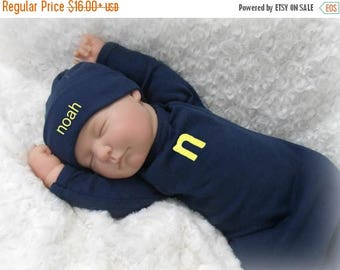 SALE Personalized Navy Baby Gown, Alphabet Applique Baby Boy Coming Home Outfit, Monogram Coming Home Layette, More Colors Available