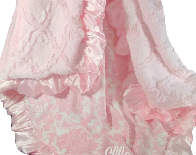 SALE Personalized Pink Damask and Sculpted Lattice Minky Blanket for a Baby Girl, three sizes