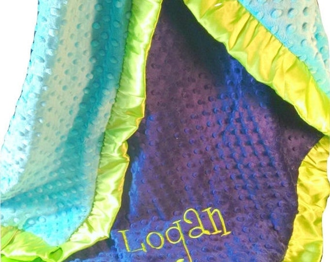 SALE Personalized Royal Blue, Lime green, and Turquoise Minky Baby Blanket