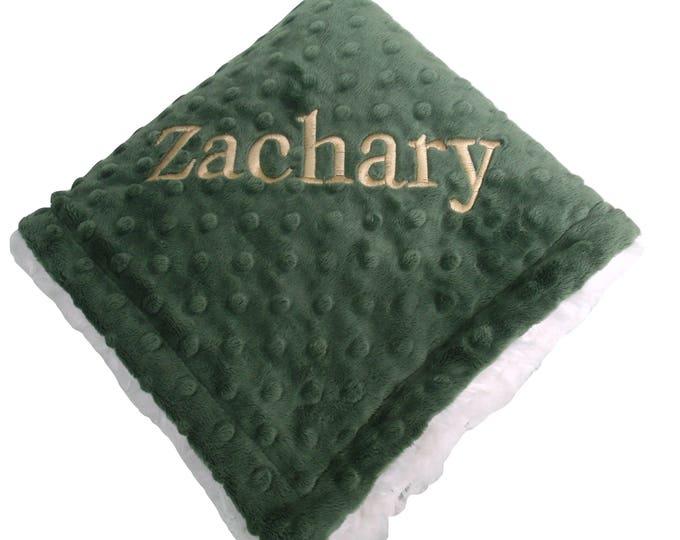 Olive Green Minky Blanket for Baby Boy, three sizes