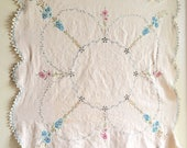 Vintage Natural Ecru Cotton Tablecloth Square Curvy Scalloped Edge Hand Embroidered Flowers Small Table Cloth Hygge
